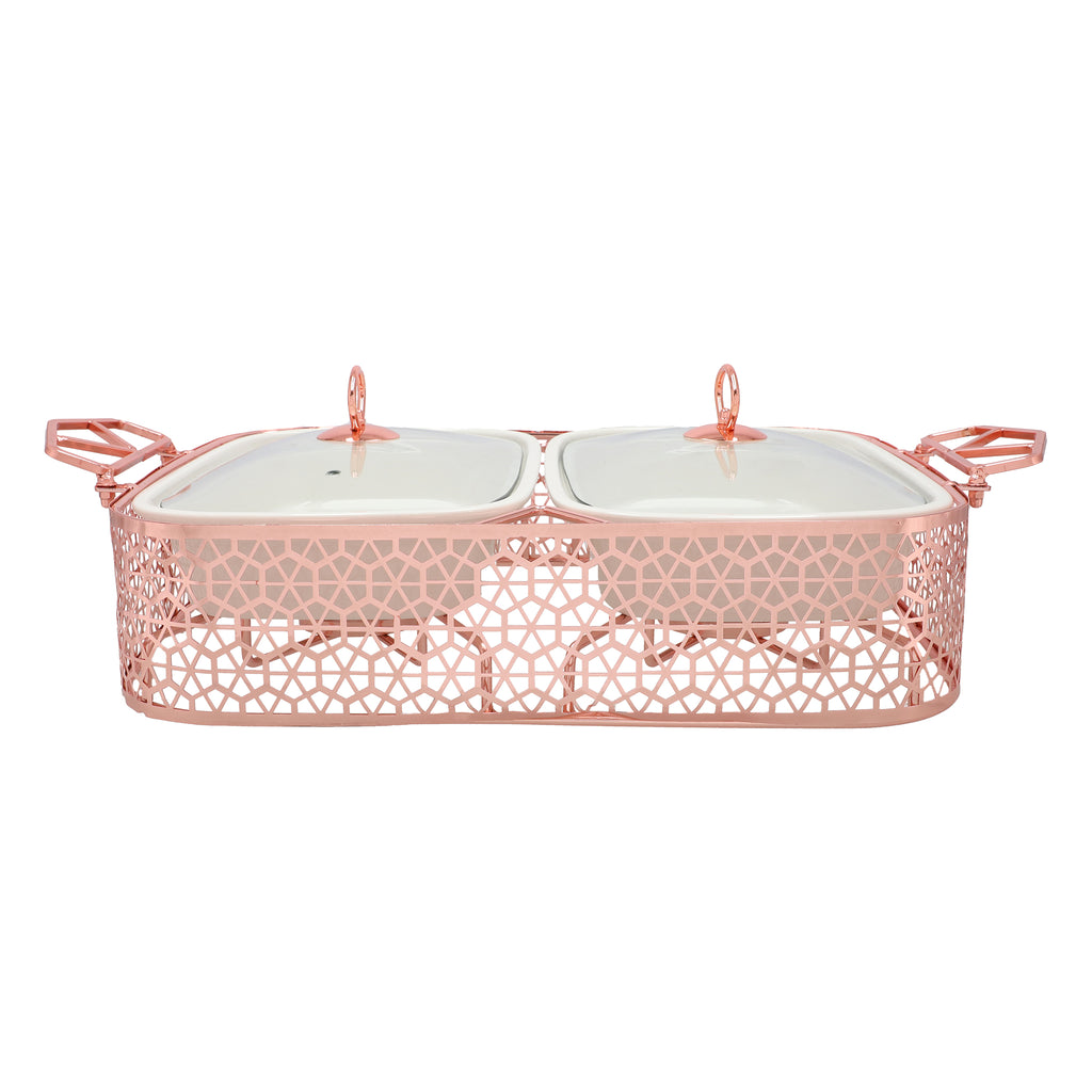 Dual Casserole Dishes on Rose Gold Rack with Burners