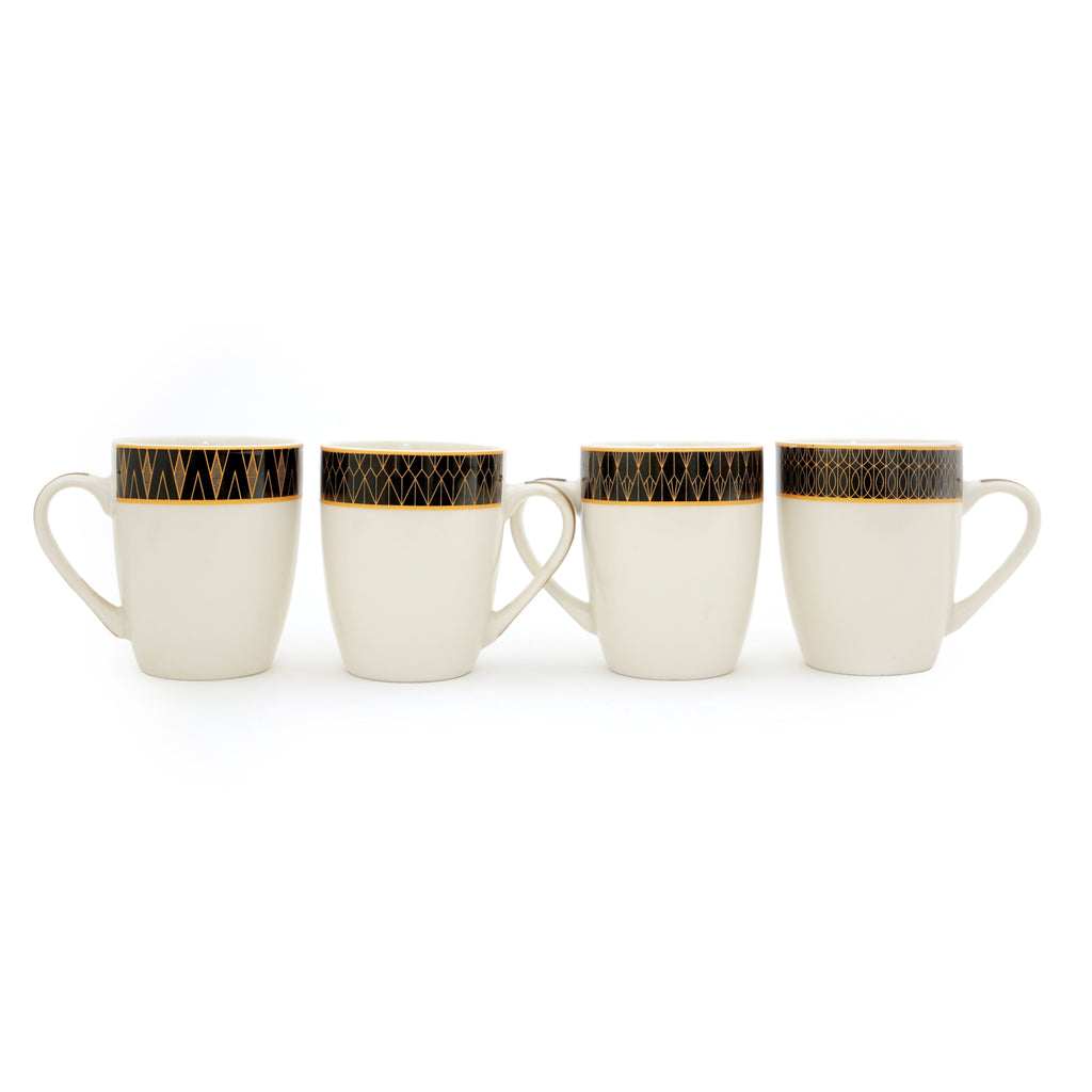 Mugs Set of 12 Black Ribbon Cups Ideal for Everyday Use