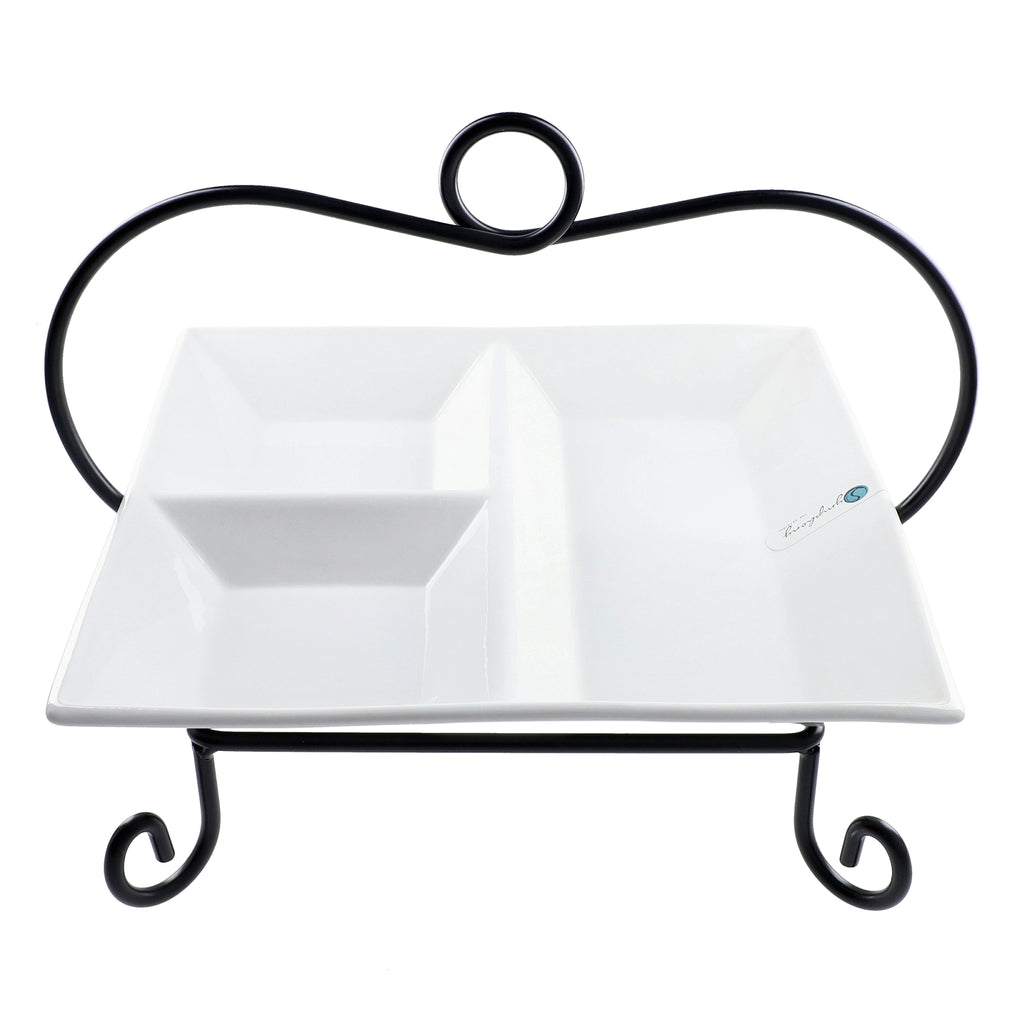 Square Divider Plate with Stand Alfresco Symphony Tres Gourmet