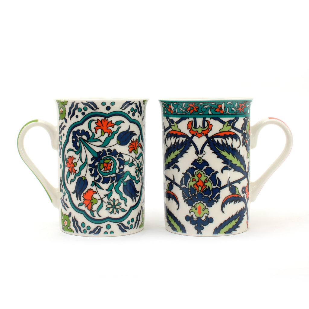 Beautiful Floral Motifs Mugs | Set of 6 Cups | Heritage Made in Turkey