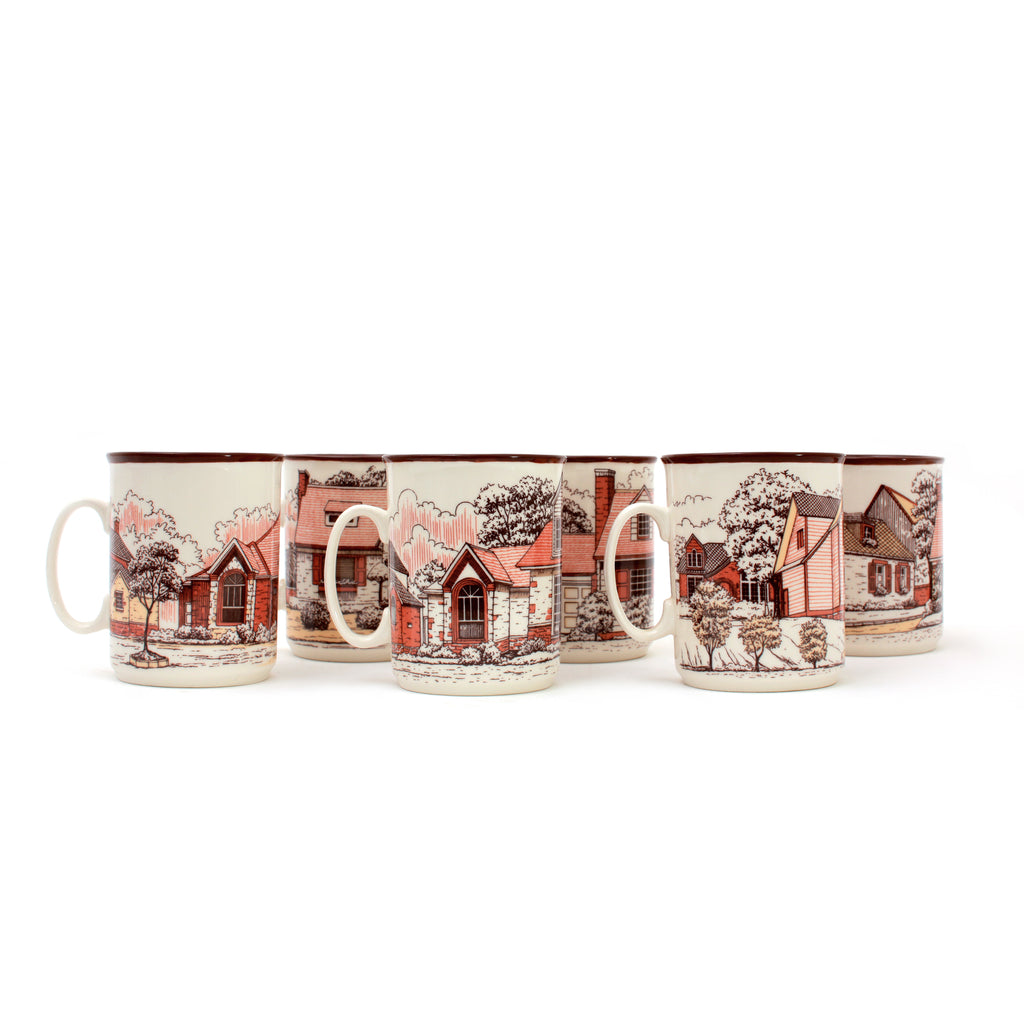 Collectible Mugs Farmhouses | Set of 6 Cups | Heritage Made in Turkey