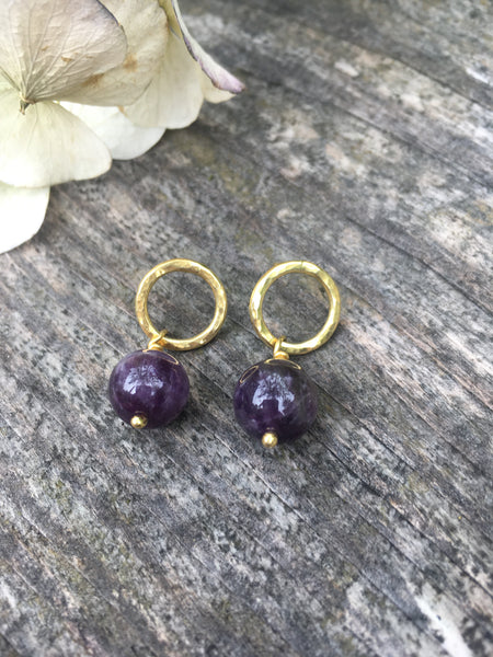 Gold plated studs & purple gem