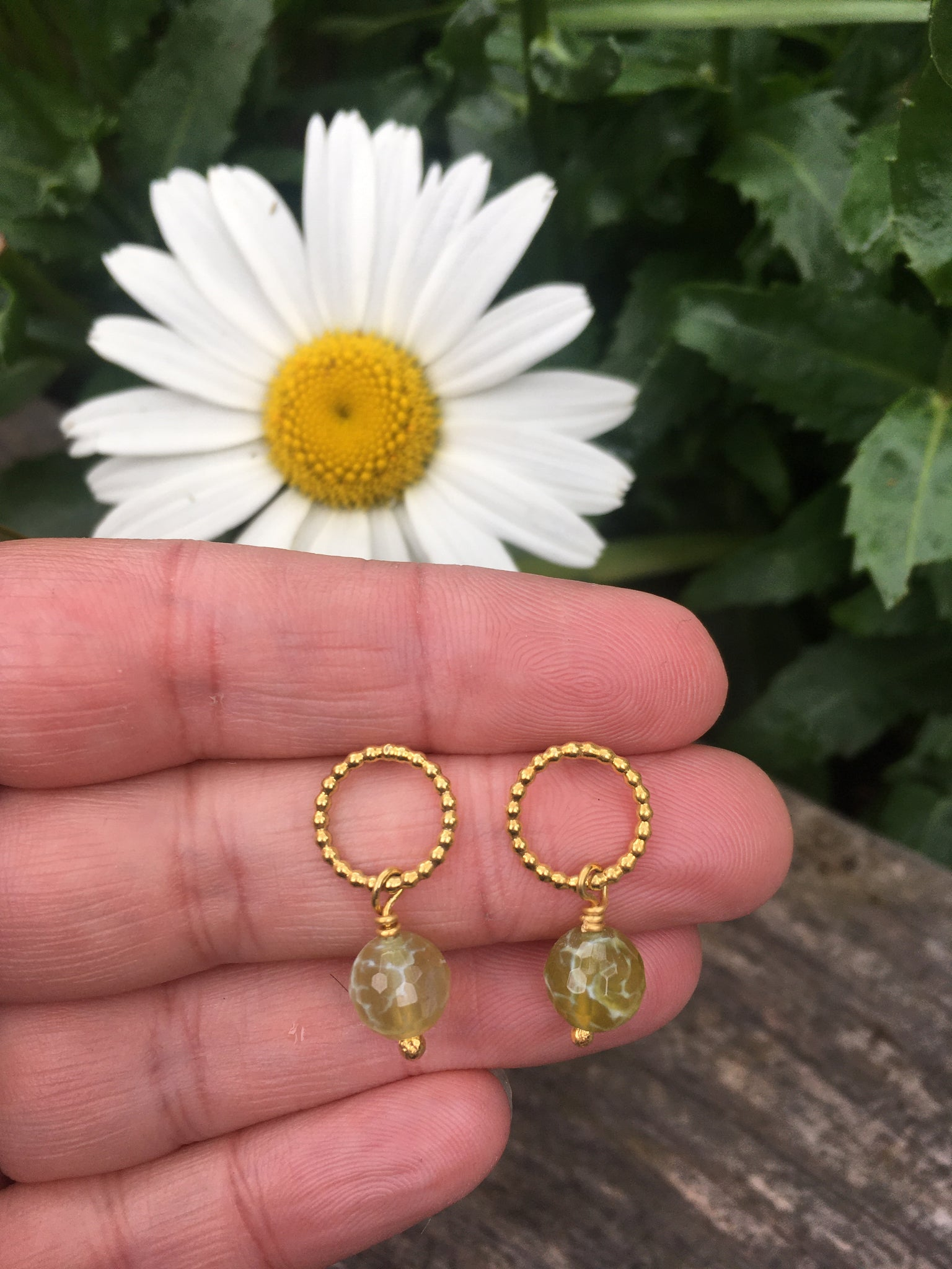 Gold plated pearl wire studs & green gem