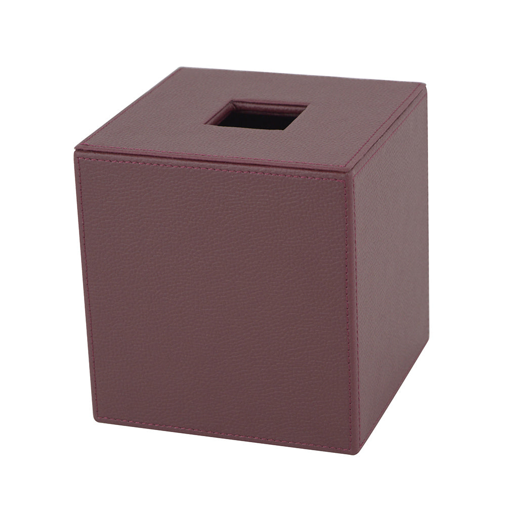 Maroon Leather Tissue Box Cover