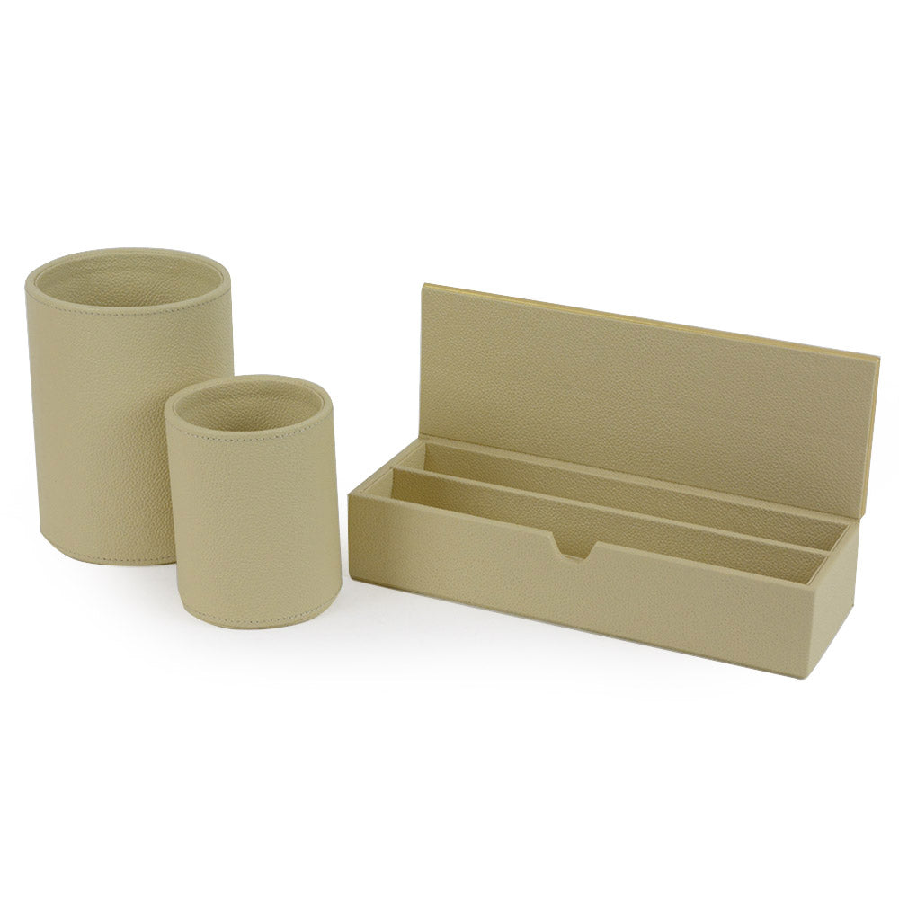 Downing - Beige Faux Leather Stationary Set