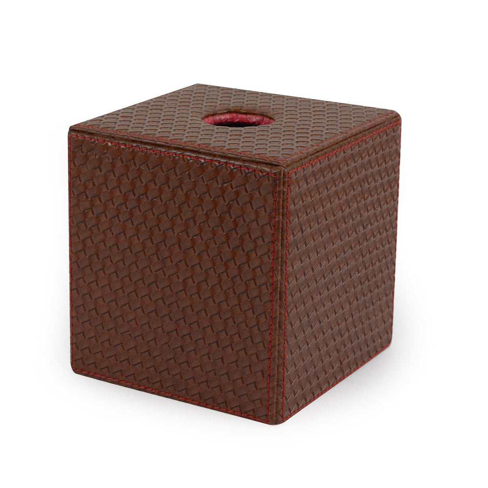 Baker - Brown Woven Leather Tissue Box Cover