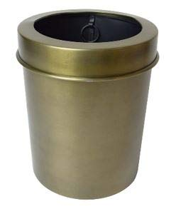 Wastepaper Bin Compact Cicular round matt antique metal finish with lid cover