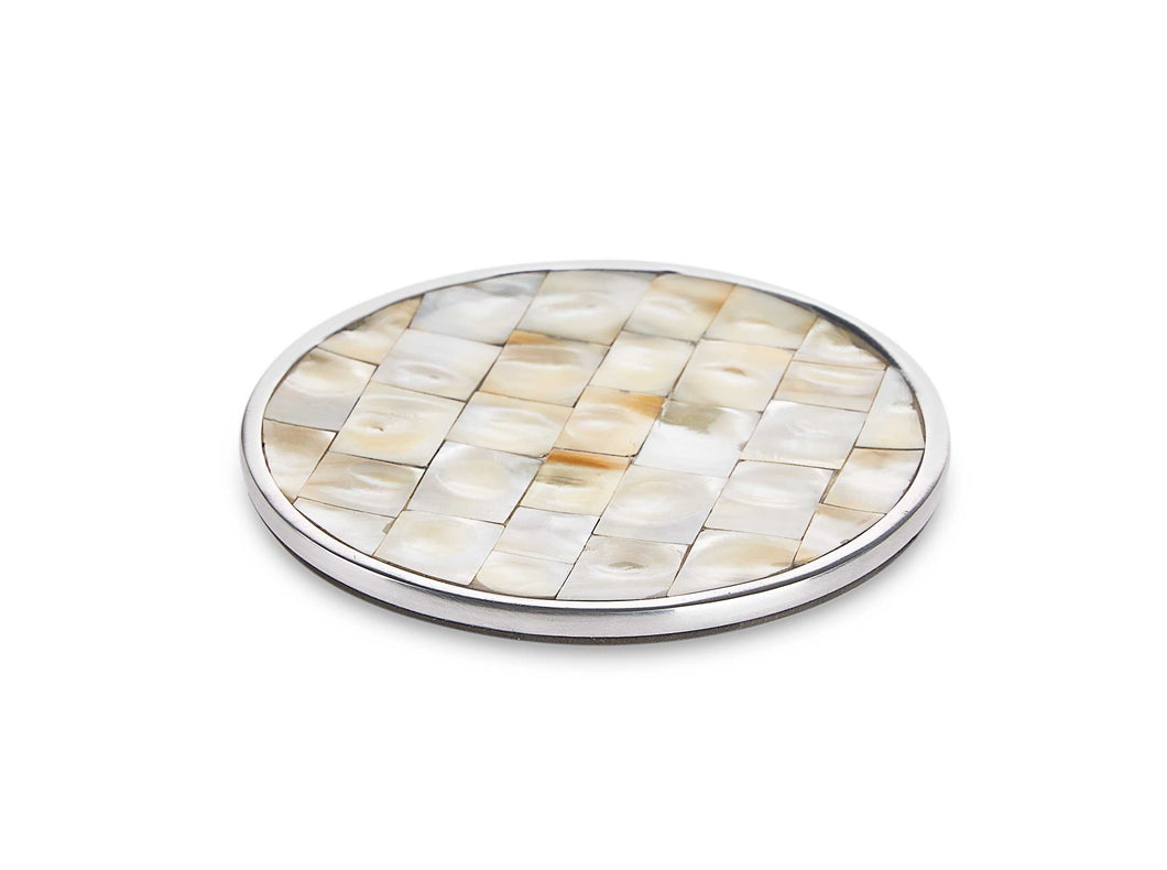 Silver Walk- Round Mother Of Pearl & Metal Coaster