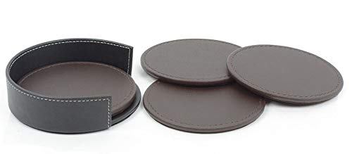Black container with 4 brown coasters