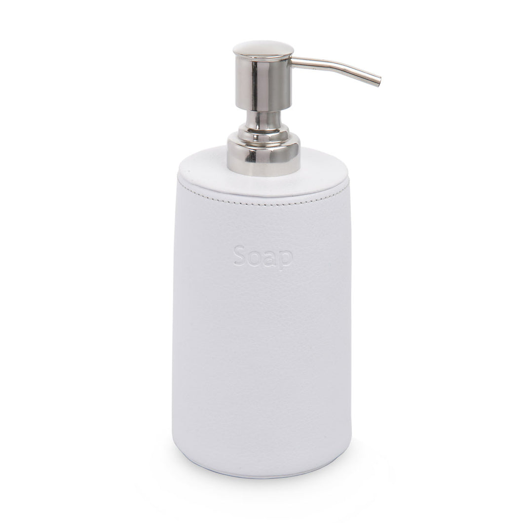 White City - White Leather Soap Dispenser