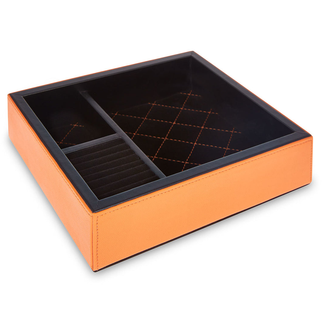 Knightsbridge - Orange Faux Leather Jewellery Tray
