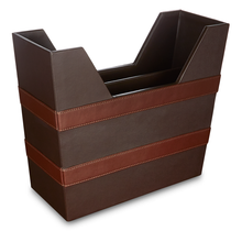 Load image into Gallery viewer, Holborn - Brown Faux Leather Magazine Holder
