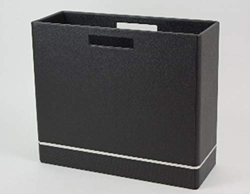 Black and silver faux leather magazine holder