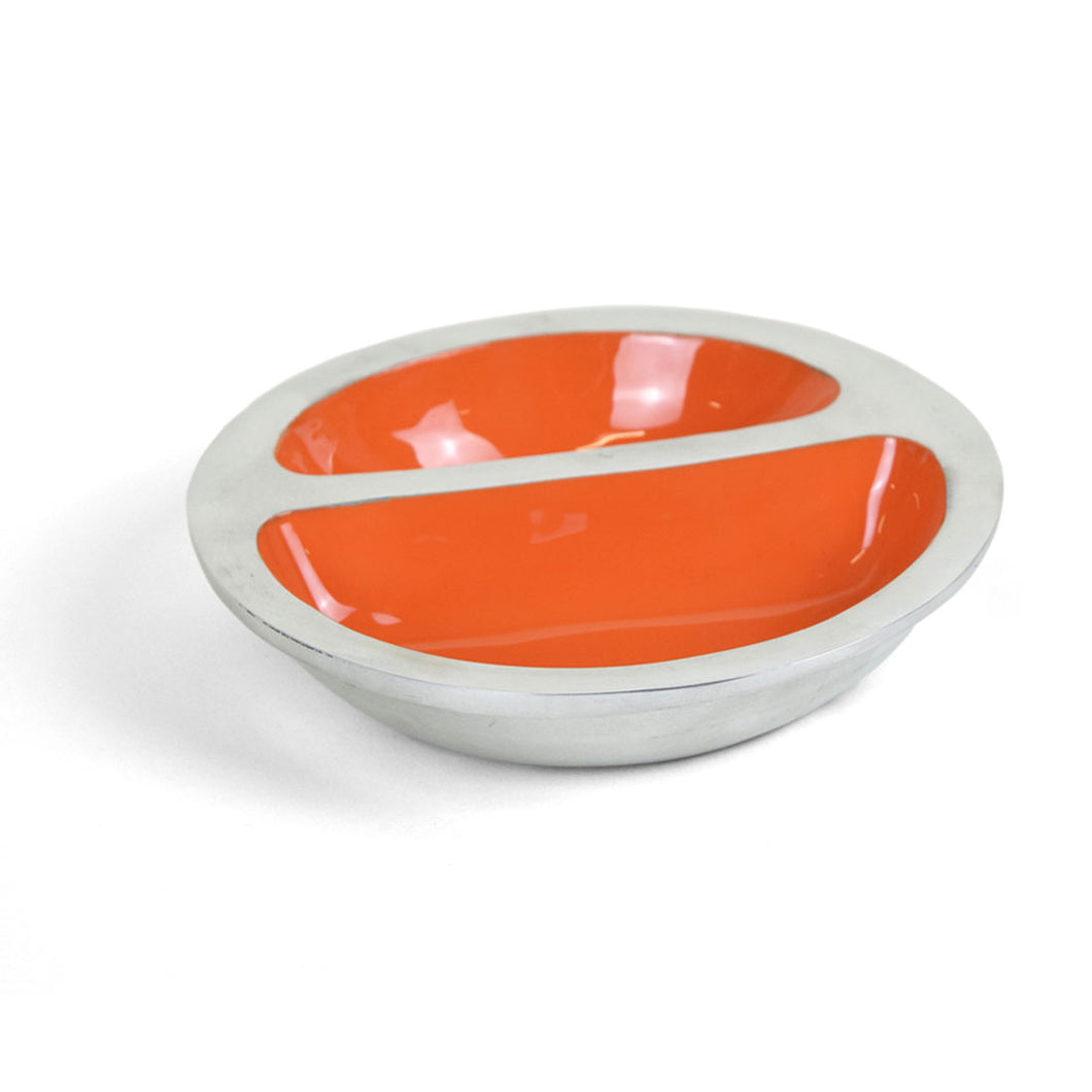 Paradise - Polished Metal & Orange Enamel Snack Dish