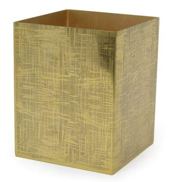 Wastepaper Bin Compact Square Textured Brass