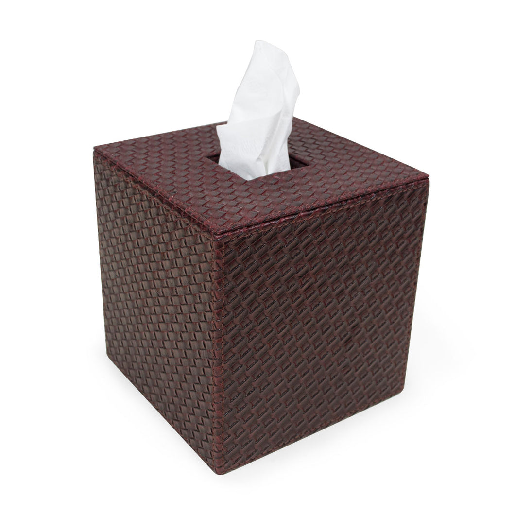 Berwick - Deep Red Woven Faux Leather Tissue Box Cover