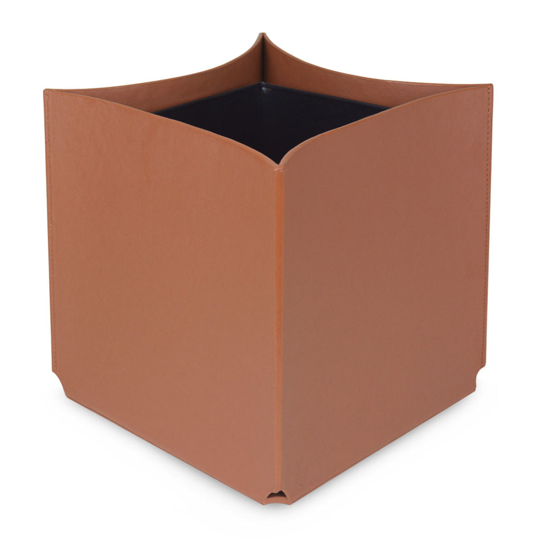 Diamond – Faux Leather Waste Bin in Light Brown With Inverted sides.