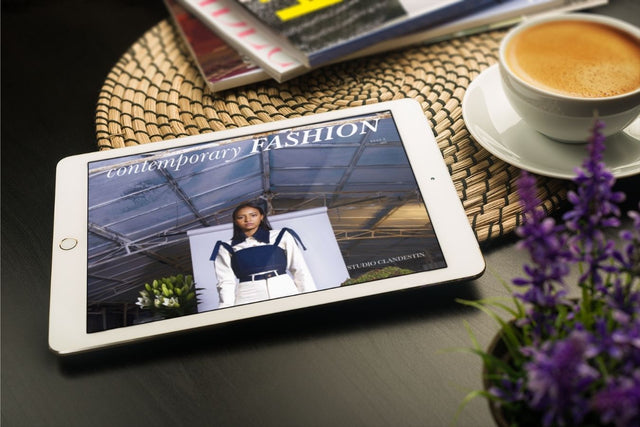 Ipad with Contemporary Fashion magazine on the screen. Pure Free Spirit is featured in issue 3 of this magazine.