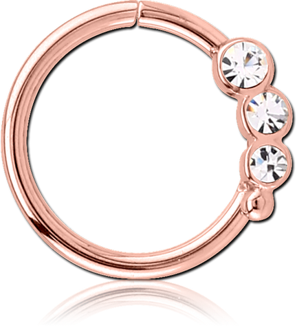 ROSE GOLD PVD COATED JEWELED SEAMLESS RING - TRIPLE GEM