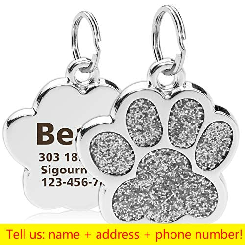 Stunning Personalized Dog, Cat Tags Glitter Engraved Pendant.