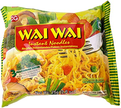 Wai Wai Instant Chicken and Veg Spicy Noodles 2.6-Ounce 75g Package (30 Pack)