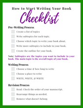 Load image into Gallery viewer, Free How to Get Started Writing Your Book Checklist