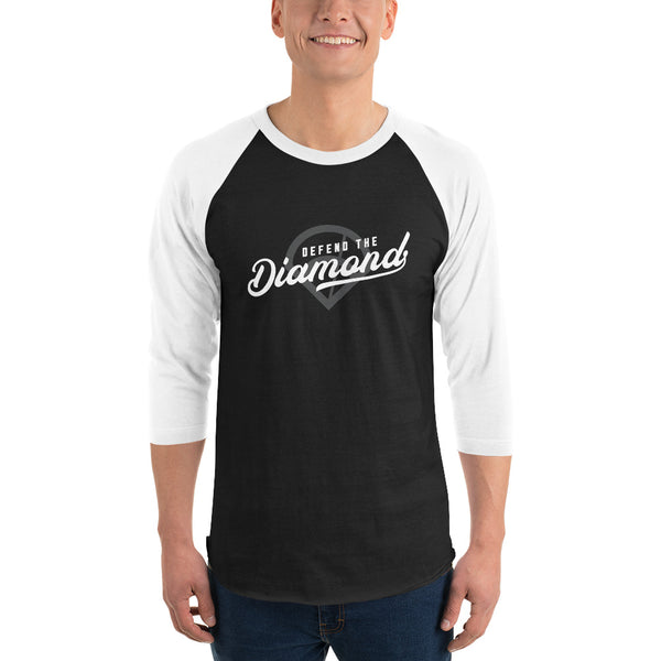 Defend the Diamond Script Baseball Shirt (White/Black)