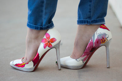 Custom Christian Louboutin Heels | Tropical Flowers - ShopChrisChilds