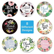 500 pcs/Roll Round Floral Thank You Stickers