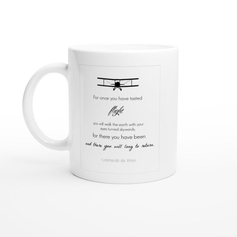 White Ceramic Mug - Inspirational Quote: da Vinci