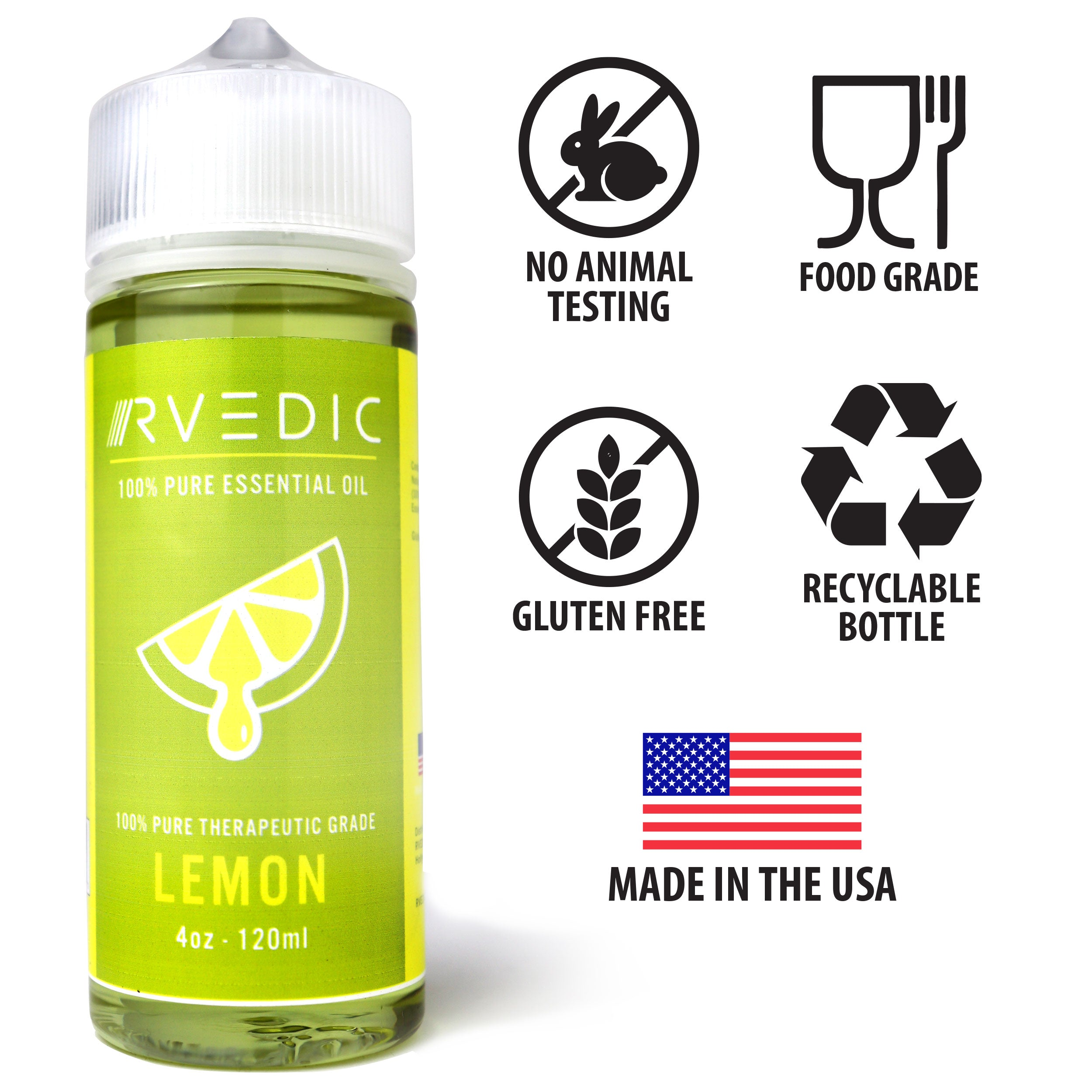 RVEDIC 100% Pure Lemon Essential Oil - 4oz (120mL)