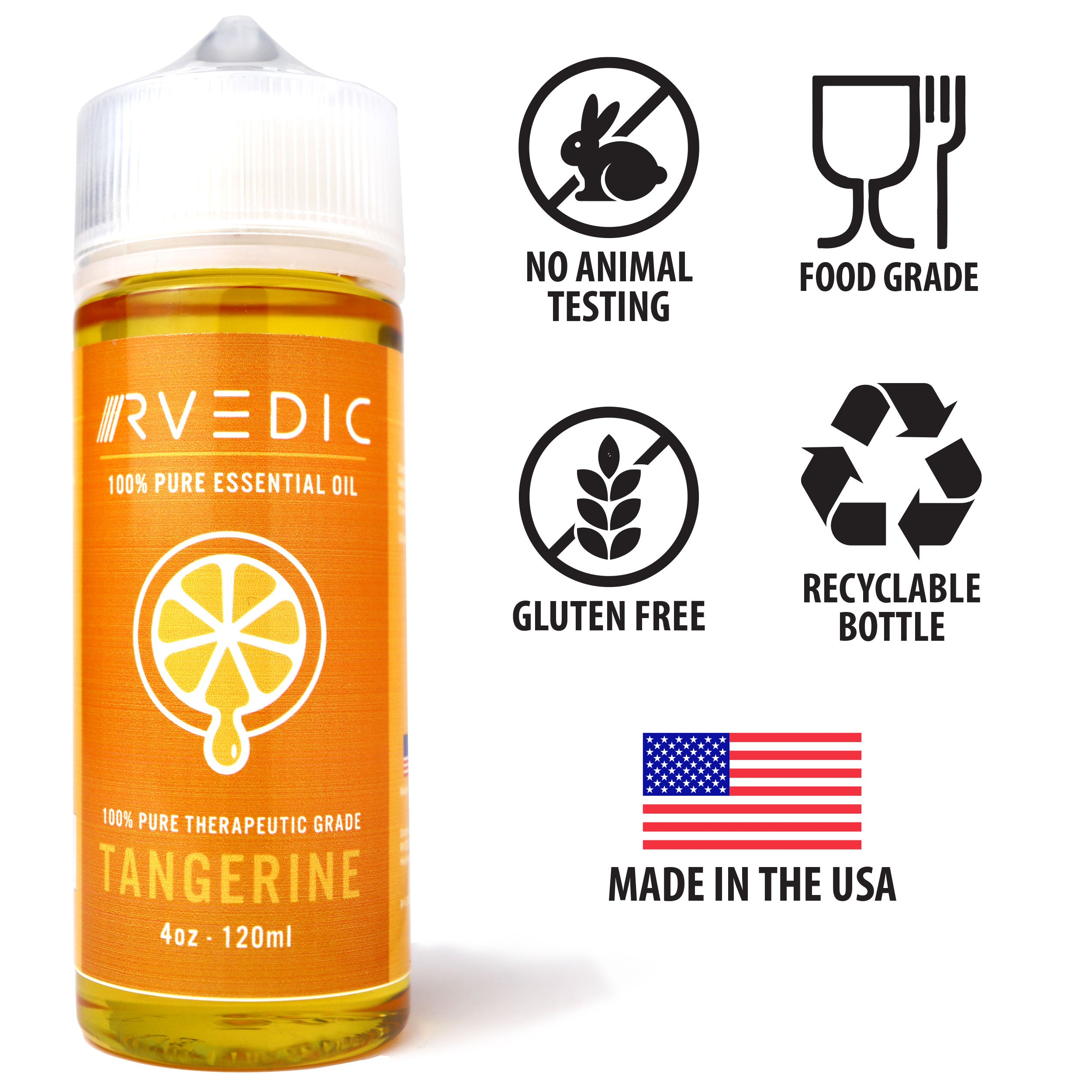 RVEDIC 100% Pure Tangerine Essential Oil - 4oz (120mL)