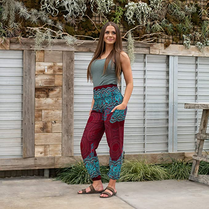 Elephant pants  | Maroon and Blue Butterfly(T2)