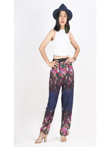 Harem pants- Flower navy blue - elephant pantz