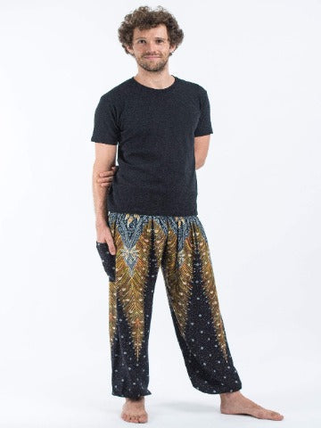 harem pants men- black and gold - elephant pantz