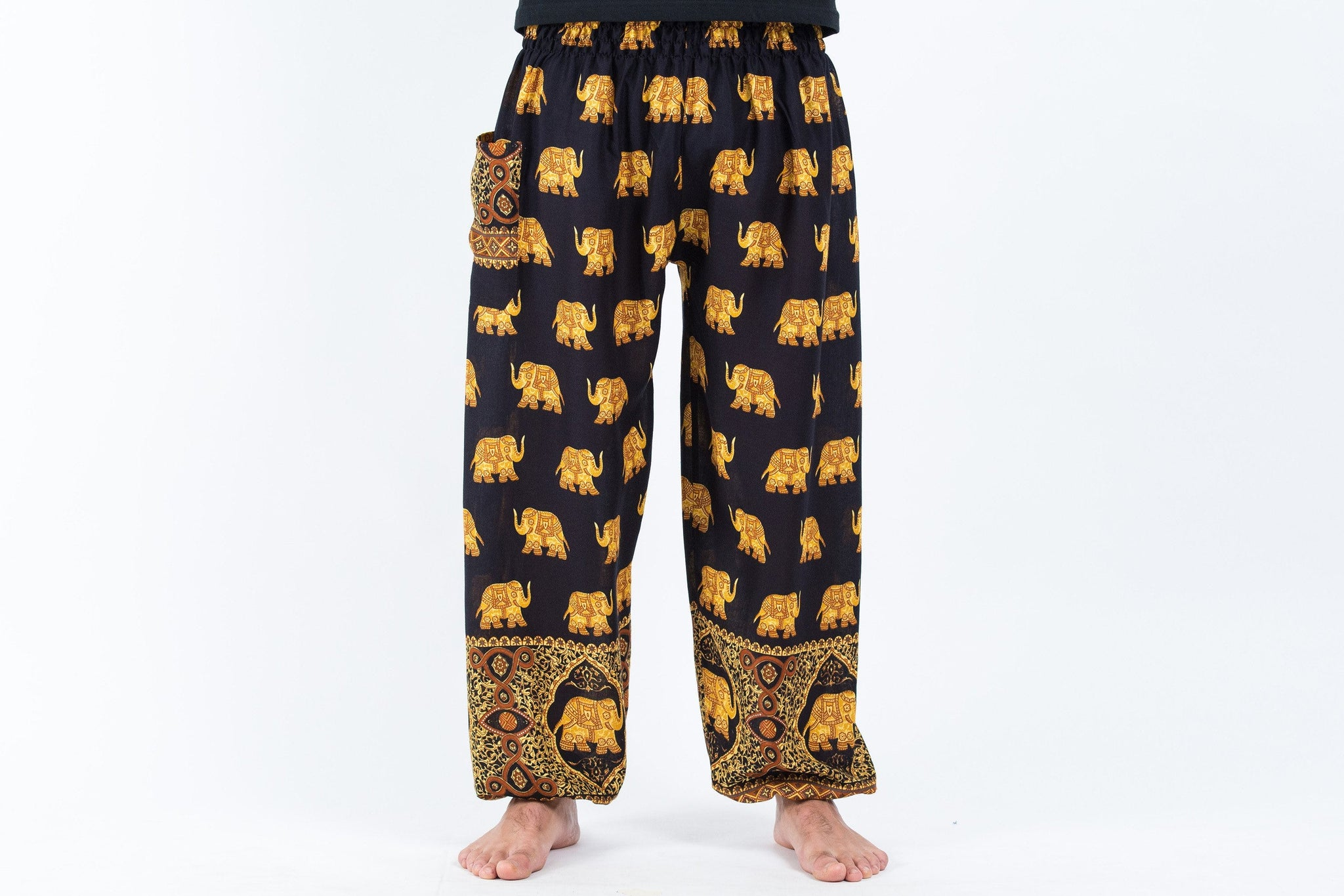 harem pants men-elephant black and gold - elephant pantz