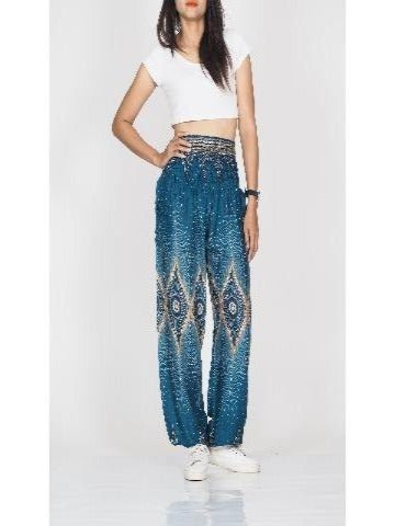 Harem pants womens-Teal diamond - elephant pantz