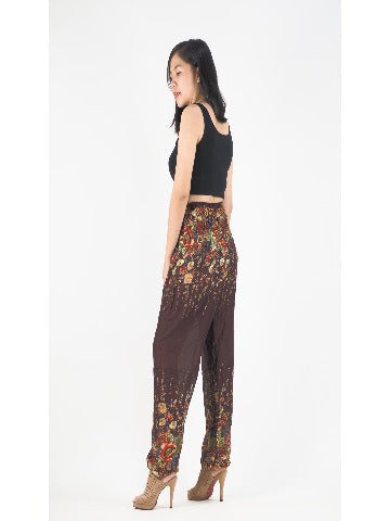harem pants -Flower Brown - elephant pantz
