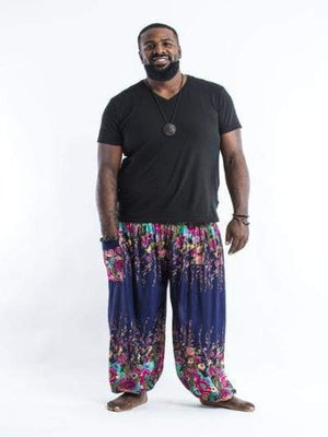 harem pants men plus size - Blue Flower - elephant pantz