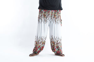 harem pants men plus size- white flower - elephant pantz