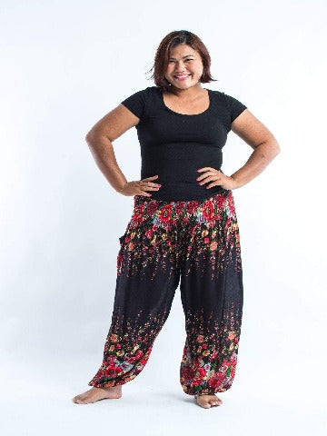 Plus size womens - Flower navy - elephant pantz