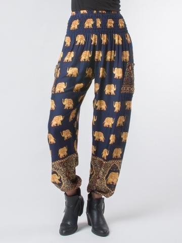Elephant pants - Blue and gold - elephant pantz