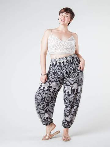 Plus Size Harem Pants- Black Diamond - elephant pantz
