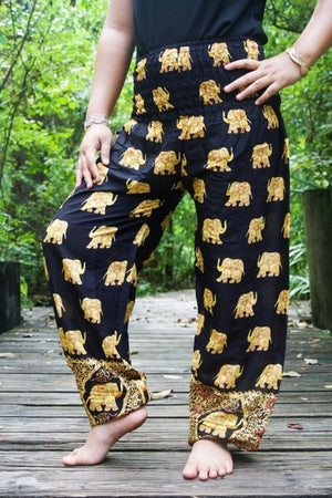 elephant pants- Black and gold