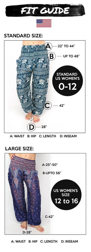 Plus Size Harem pants - White flowers - elephant pantz