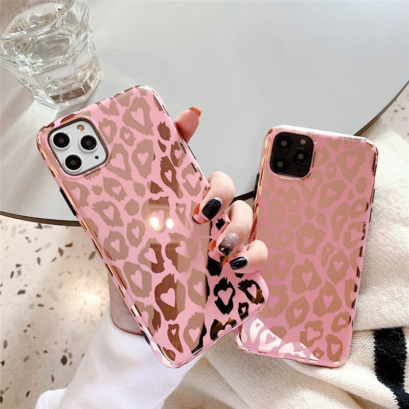 Pink Print Shiny Leopard Mirror Cases