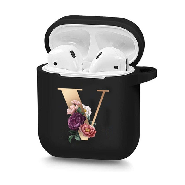 Floral Gold/Black Letter Cases For AirPods