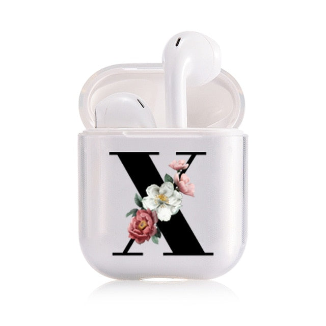 Floral Clear/Black Letter Cases For Airpods