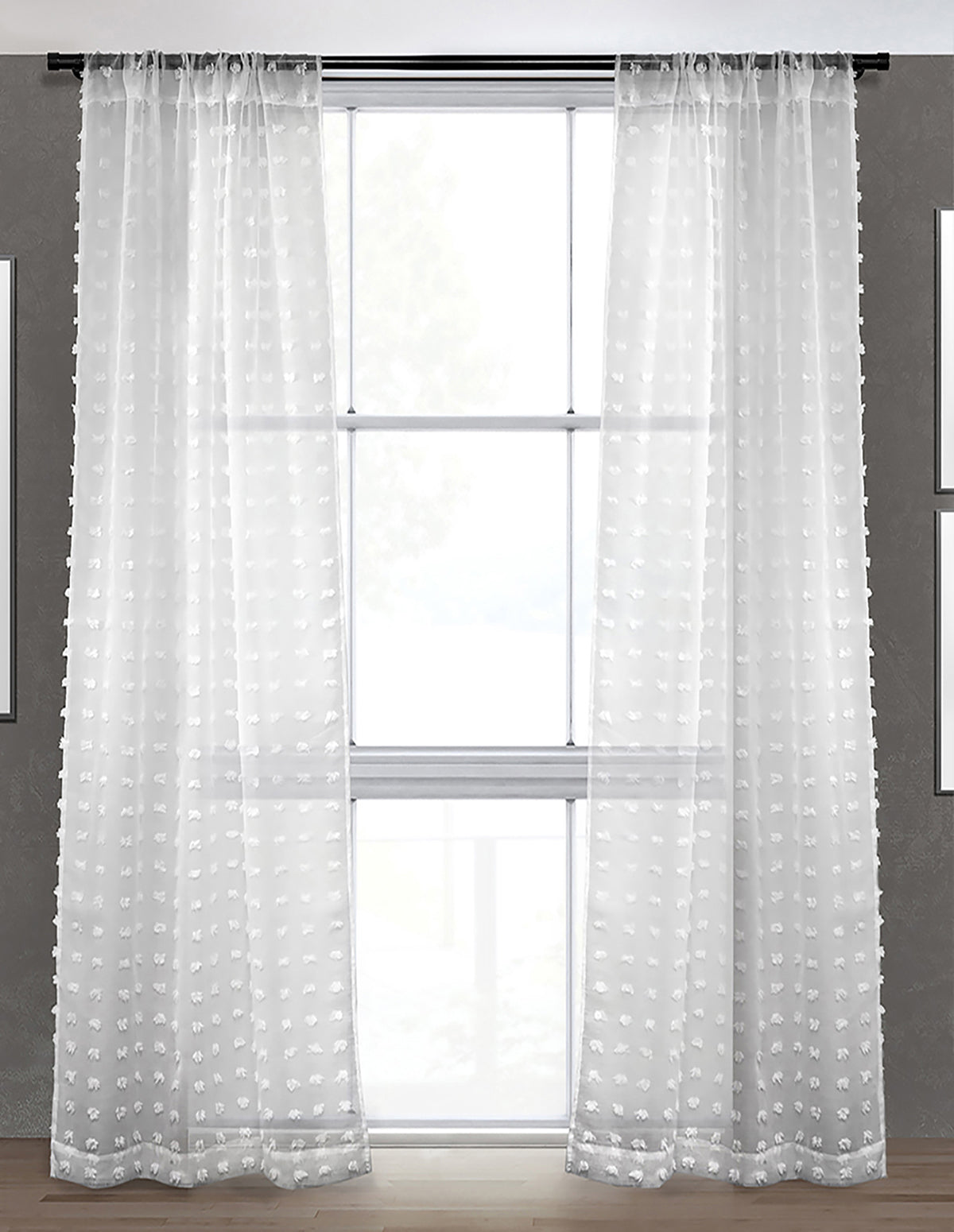 LITEOUT - PUFFY SHEER CURTAIN PANEL (PAIR)