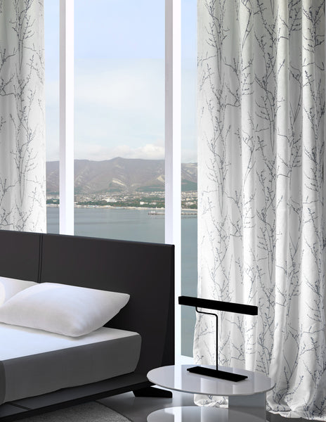 LITEOUT - SIMON BRANCH PRINTED SHEER CURTAIN PANEL (PAIR)